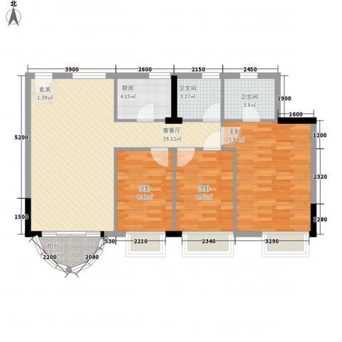 金桃园大厦3室1厅2卫1厨85.44㎡户型图