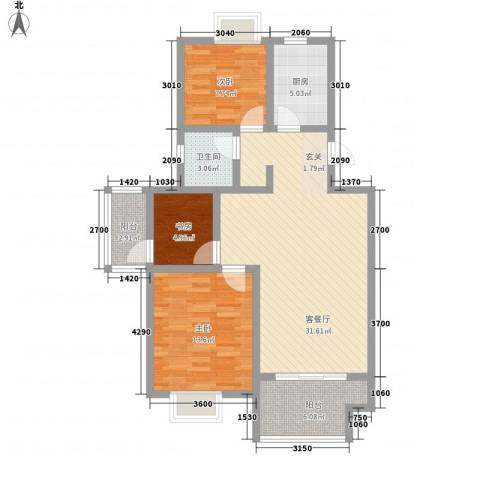 仙林诚品城3室1厅1卫1厨74.99㎡户型图