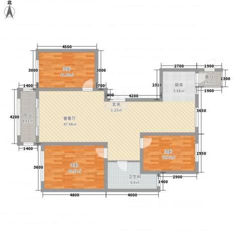 领航国际花园3室1厅1卫0厨141.00㎡户型图