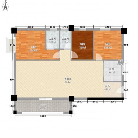 国兆蜜园3室1厅2卫1厨123.00㎡户型图