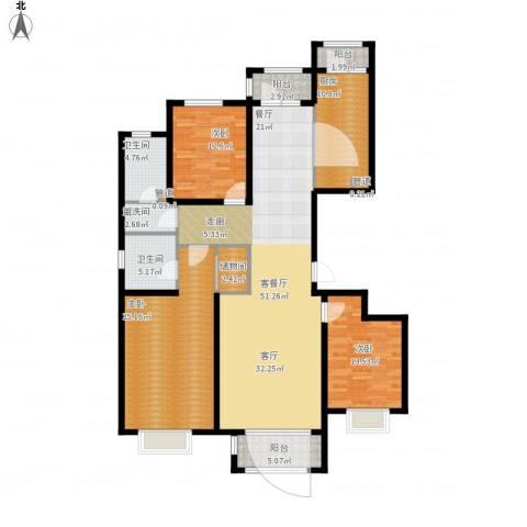 悦澜湾3室1厅2卫1厨196.00㎡户型图