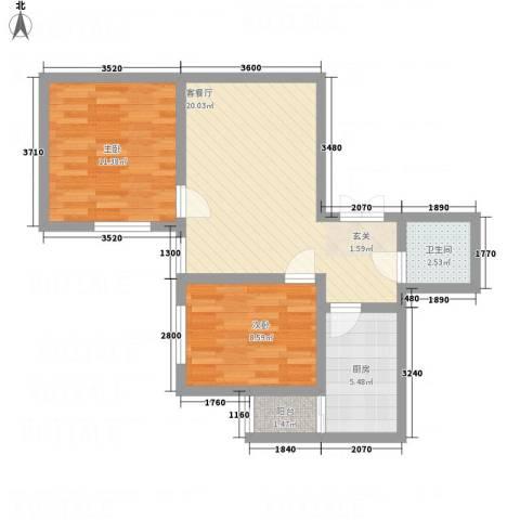 阳光北郡2室1厅1卫1厨72.00㎡户型图