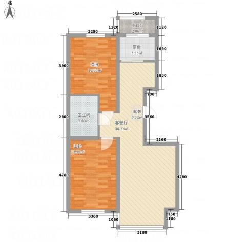 浅草绿阁三期2室1厅1卫1厨96.00㎡户型图