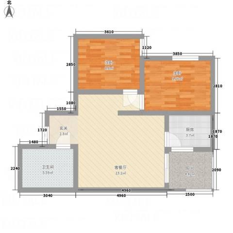阳光北郡2室1厅1卫1厨80.00㎡户型图
