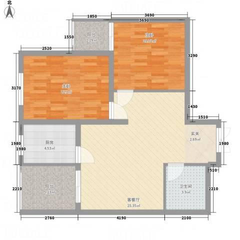 阳光北郡2室1厅1卫1厨91.00㎡户型图