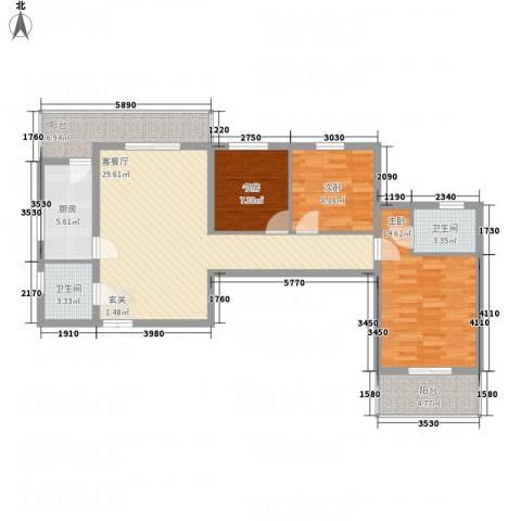 阳光北郡3室1厅2卫1厨120.00㎡户型图