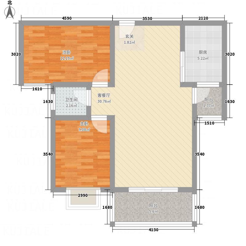 金泉名苑7.80㎡6#楼D户型2室2厅1卫1厨