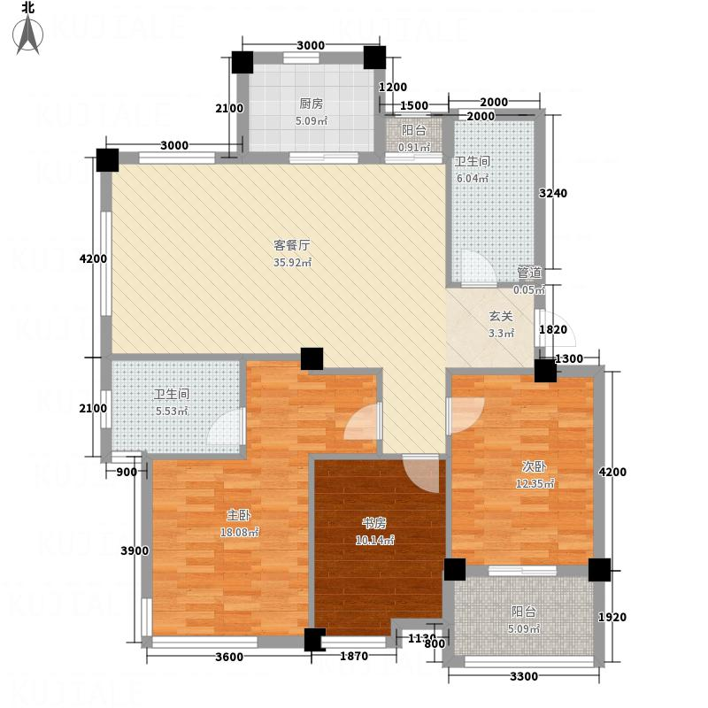 凤凰126.62㎡小区5号楼I户型3室2厅2卫1厨