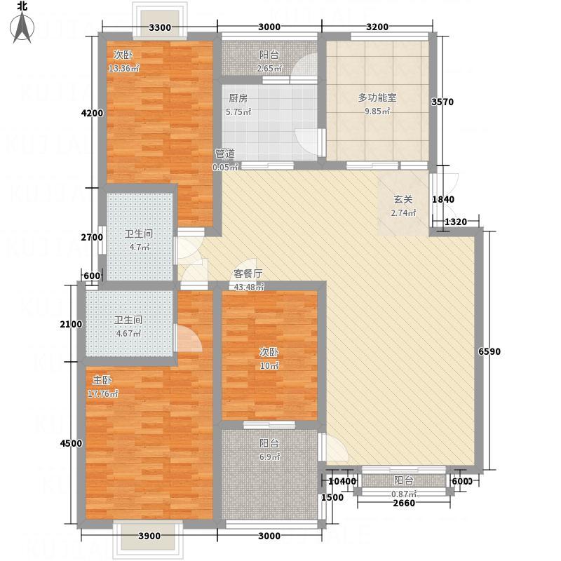 水木华夏148.00㎡A型户型4室2厅2卫1厨