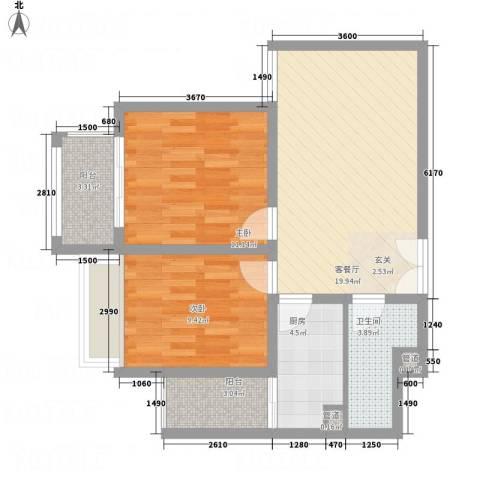 中南世纪城2室1厅1卫1厨81.00㎡户型图