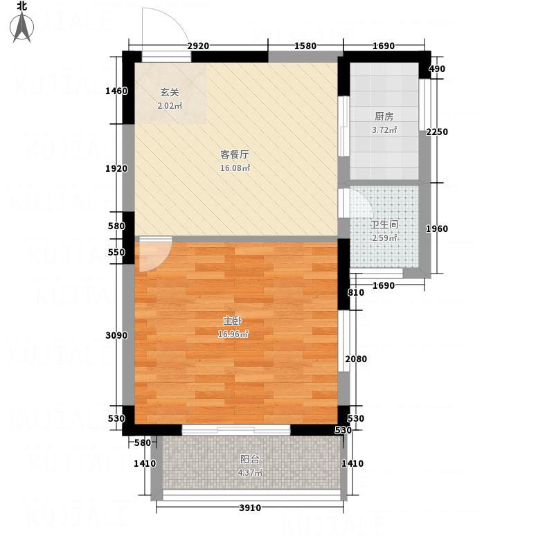 国展中央花园63.48㎡D2户型1室2厅1卫1厨