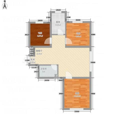 阳光书香苑3室1厅1卫1厨78.00㎡户型图