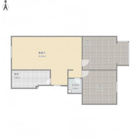 东方美墅2室1厅1卫1厨93.00㎡户型图