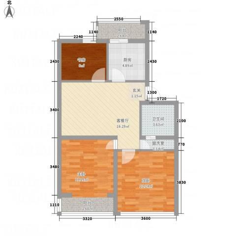 荣成花园3室2厅1卫1厨86.00㎡户型图