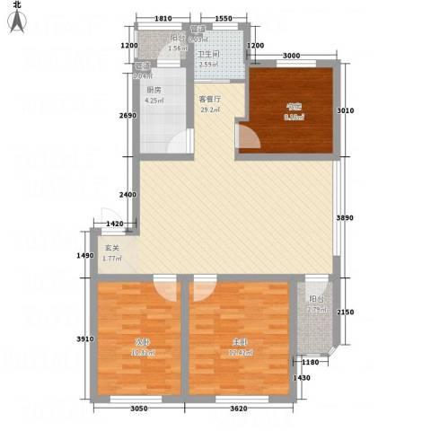 阳光书香苑3室1厅1卫1厨71.38㎡户型图
