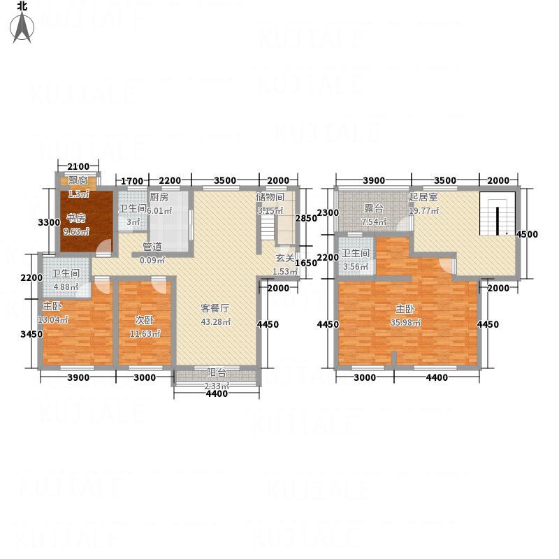 国宝华府218.30㎡二期高层D复式户型5室3厅3卫1厨