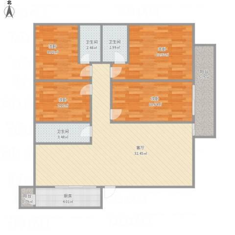 创鸿水韵尚都NW771494室1厅3卫1厨123.00㎡户型图