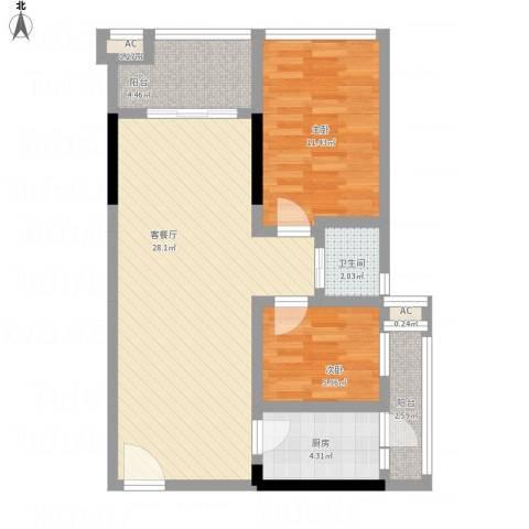 莲丰雅苑二期2室1厅1卫1厨88.00㎡户型图