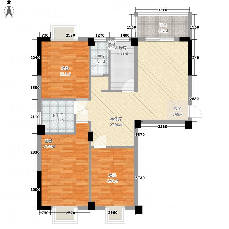 延州名郡・熙龙湾6111.41㎡6#01户型3室1厅2卫1厨