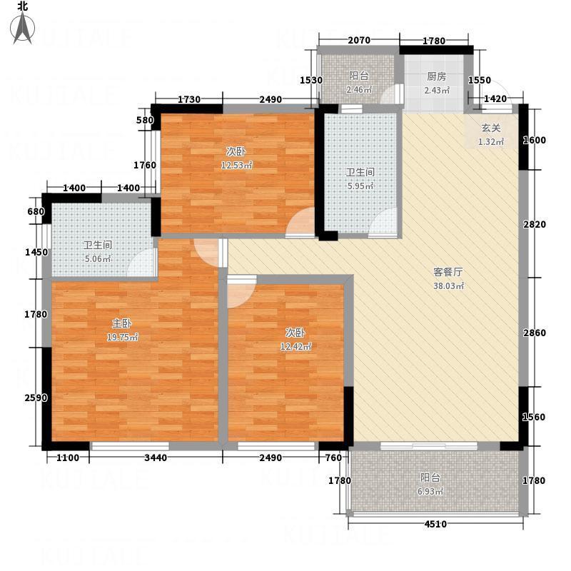 鹰城商贸中心6145.20㎡6#B-C户型3室2厅2卫1厨