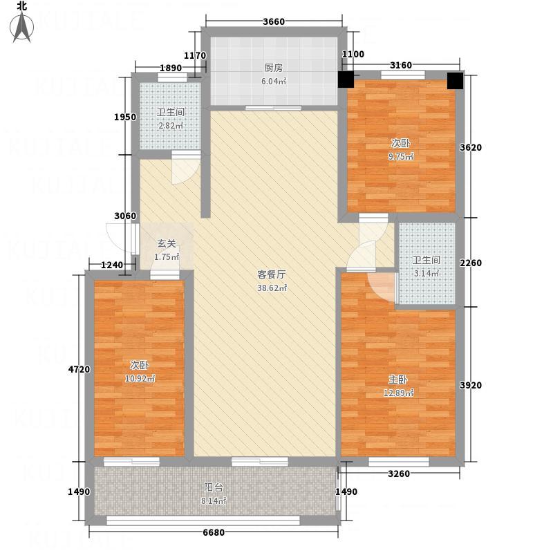 中兴广场131.40㎡户型3室2厅2卫1厨