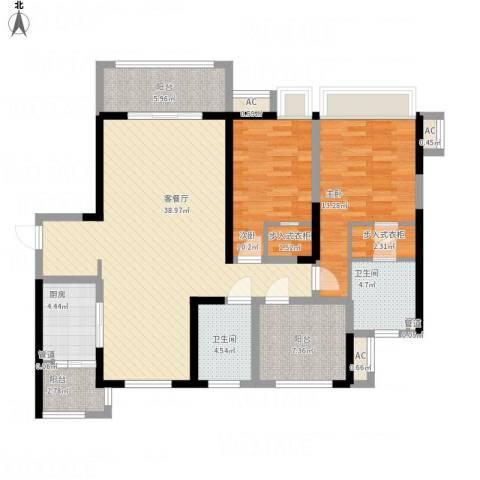 弘建一品2室1厅2卫1厨144.00㎡户型图