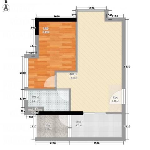 花明大厦1室1厅1卫1厨58.00㎡户型图