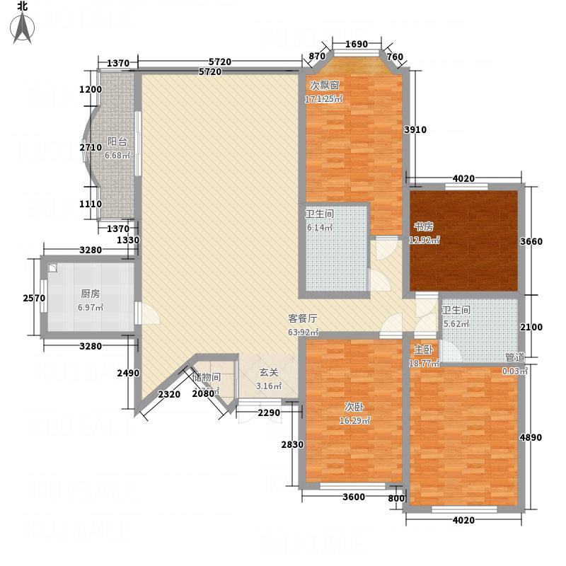 西安锦园217.43㎡G2户型4室2厅2卫1厨
