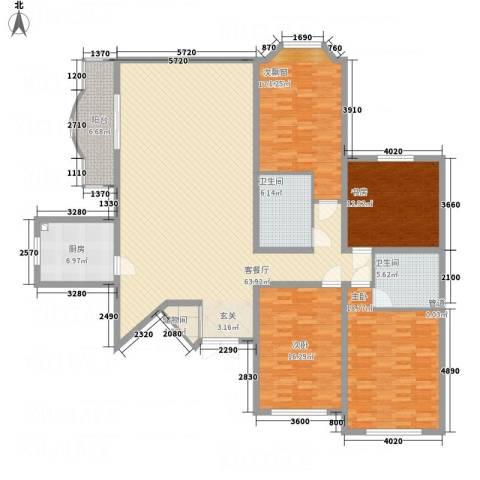 西安锦园4室1厅2卫1厨217.00㎡户型图