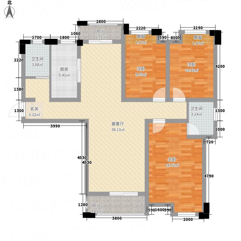 明悦华城114.53㎡B1户型3室2厅2卫1厨