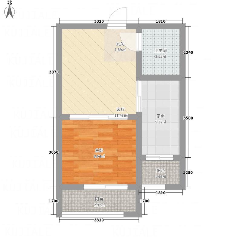 潞安・颐龙湾5.20㎡户型1室1厅1卫1厨