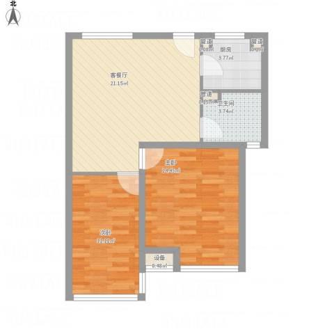 慧晶国际公寓2室1厅1卫1厨78.00㎡户型图