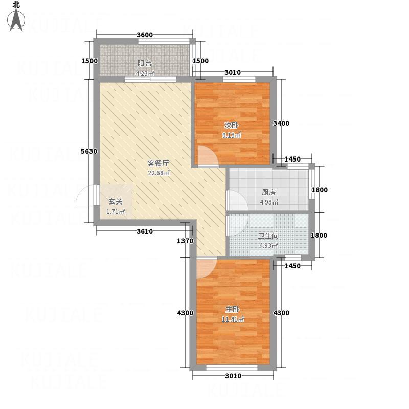 山海龙城74.46㎡D户型2室2厅1卫1厨