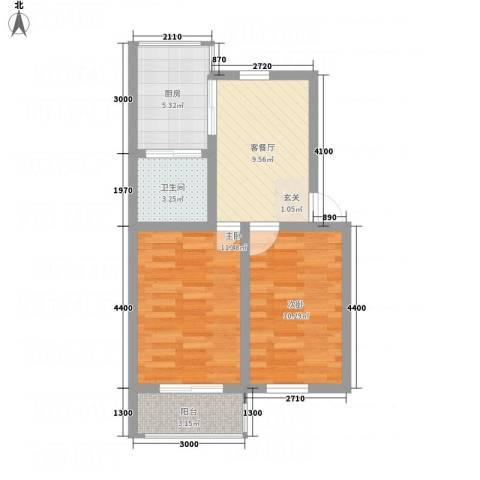 铁西工人新村一期2室1厅1卫1厨63.00㎡户型图
