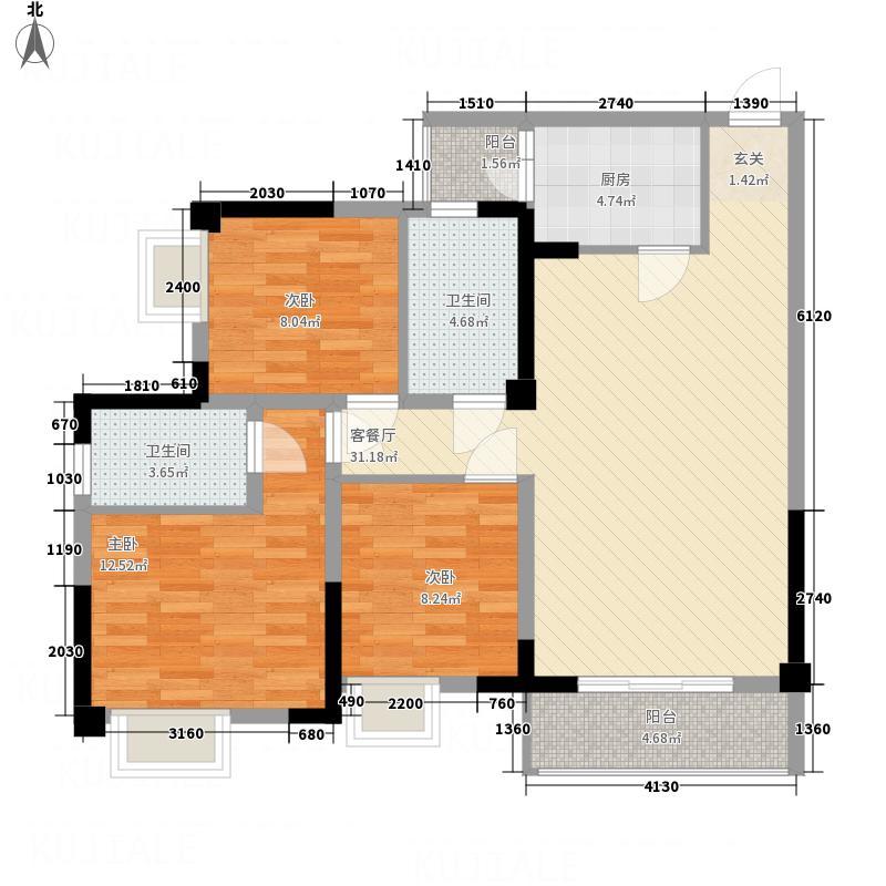 康隆・财富旺角131.34㎡b户型3室2厅1卫1厨