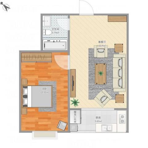 城南锦绣1室1厅1卫1厨62.00㎡户型图