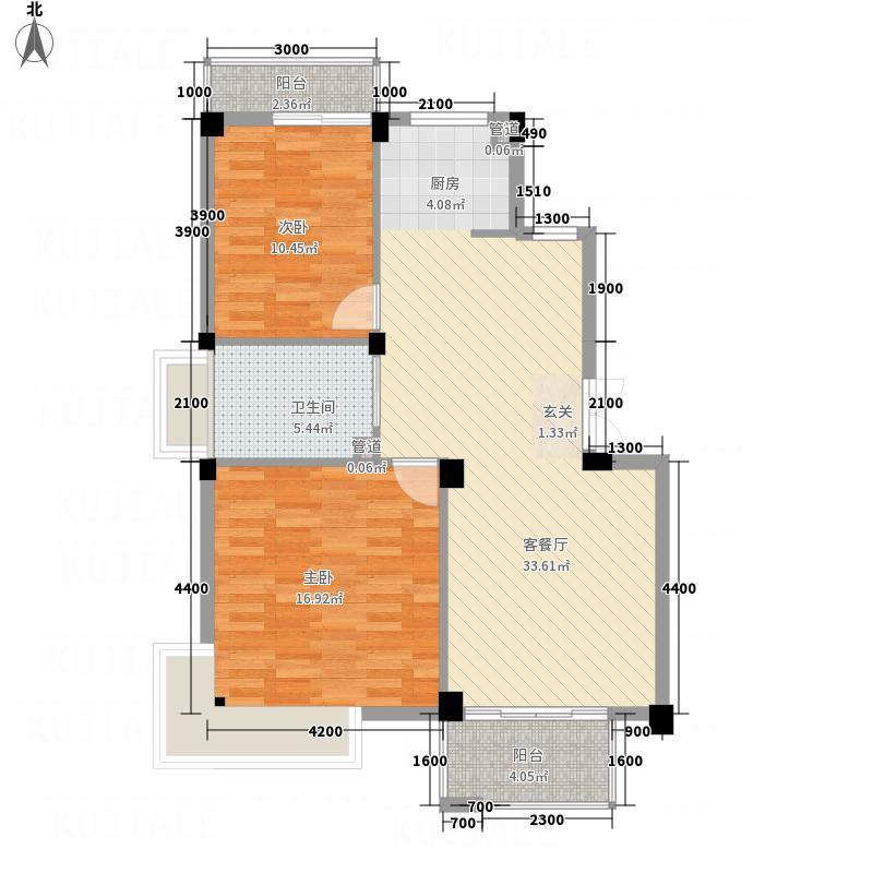 久盛华庭88.55㎡J户型2室2厅1卫1厨