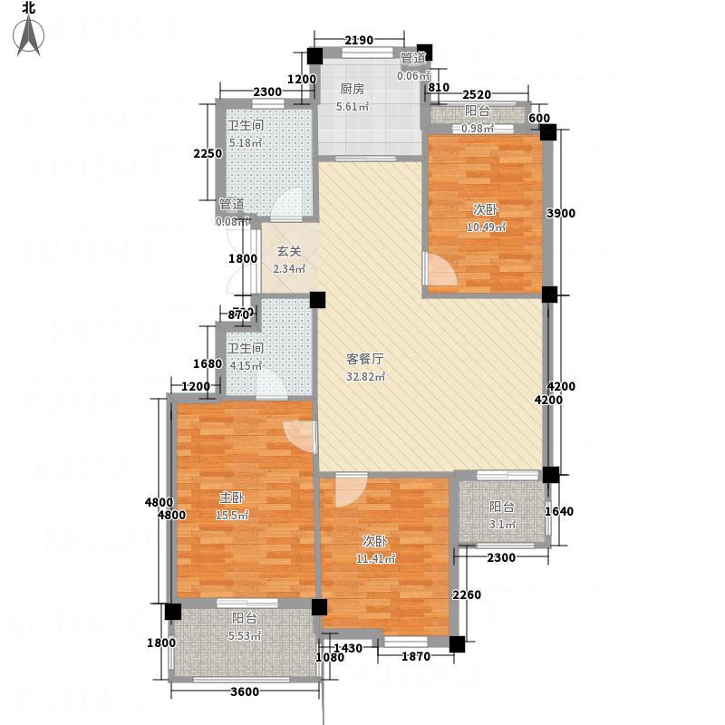 凤凰127.72㎡小区4号楼H户型3室2厅2卫1厨