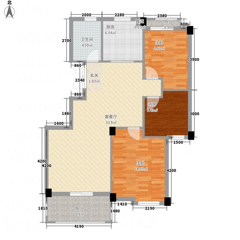 凤凰112.52㎡小区3号楼F户型3室2厅1卫1厨