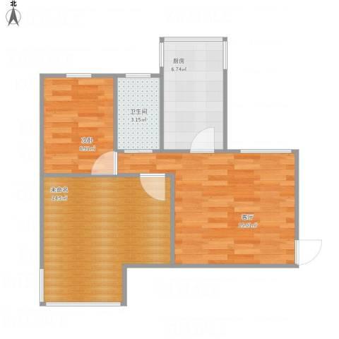 滨河西里1室1厅1卫1厨63.00㎡户型图