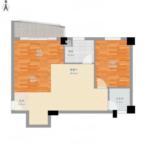 华森公园首府1室1厅1卫1厨86.00㎡户型图