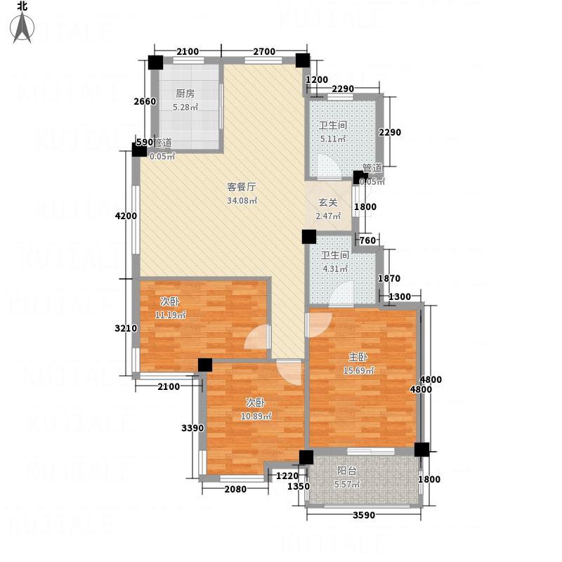 凤凰128.52㎡小区4号楼G户型3室2厅2卫1厨