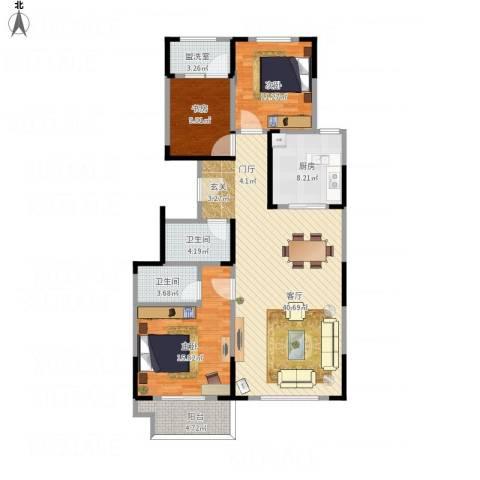 东城摩尔2号楼3室2厅2卫1厨139.00㎡户型图