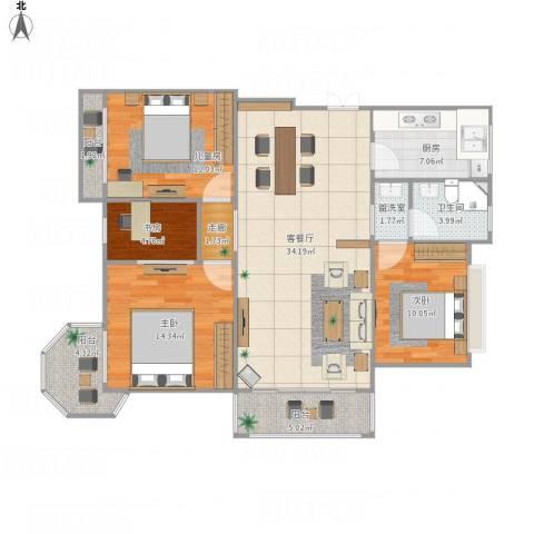 金上海湾卢先生4室2厅1卫1厨137.00㎡户型图