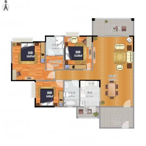 海悦新城3室1厅2卫1厨153.00㎡户型图