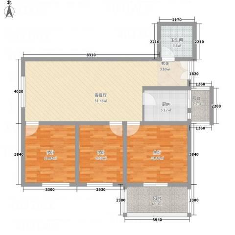 阳光北郡3室1厅1卫1厨119.00㎡户型图
