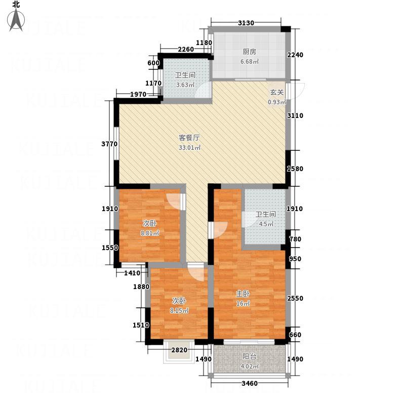 国展中央花园121.82㎡A2户型3室2厅2卫1厨