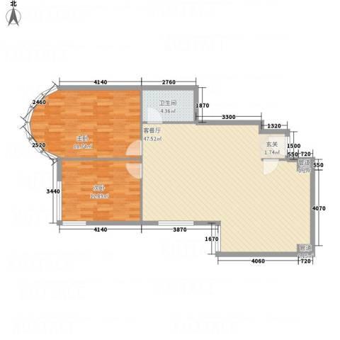 鹏润家园2室1厅2卫1厨114.00㎡户型图