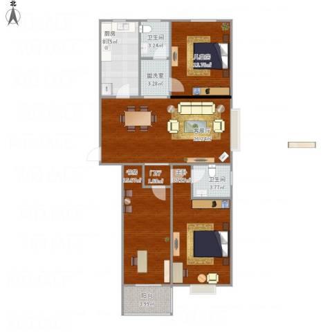 文苑小区3室2厅2卫1厨131.00㎡户型图