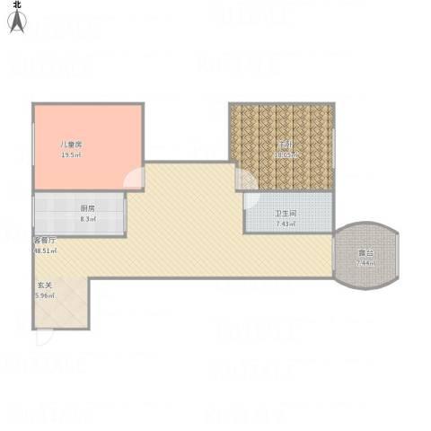 大方里小区2室1厅1卫1厨145.00㎡户型图